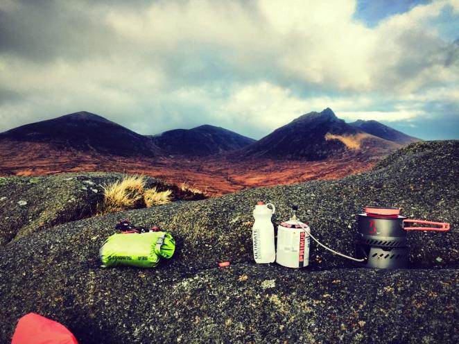 Lunch on Ben Crom, with Slieve Bearnagh in the distance (right).